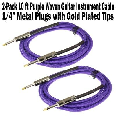 2-Pack 10 ft Purple Woven Guitar Instrument Cable Cord Effect Patch Gold Tip 1/4