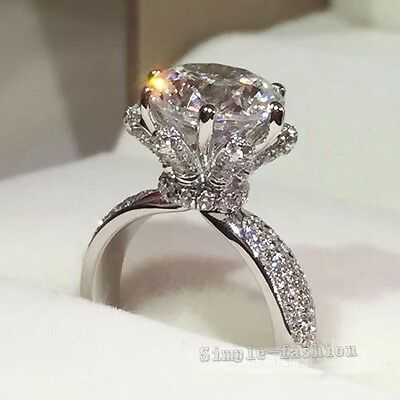 Fashion Women Flower Style 2ct White Sapphire Cz 925 silver Wedding Band Ring