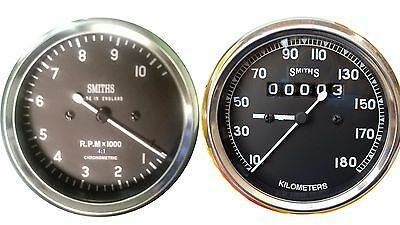 Motorcycle Speedometer 180 kph  Tachometer 10 K 4:1 Replica Smith- 80mm M18X1.5