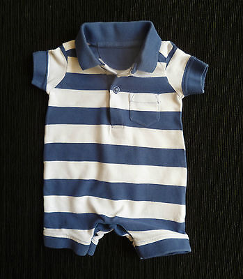 Baby clothes BOY newborn 0-1m Mothercare dark blue/white stripe romper/playsuit