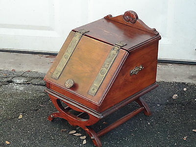 ANTIQUE WOOD COAL ASH FIREPLACE SCUTTLE BOX BIN w/ BRASS ORNAMENT FITTING
