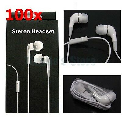 Lot 100 3.5mm Headphones Earphone with Mic for Iphone 4S 4G  with retail package