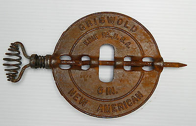 """Griswold 6"""" Cast Iron Reversible Steel Spindle Stove Pipe Damper Rustic"""