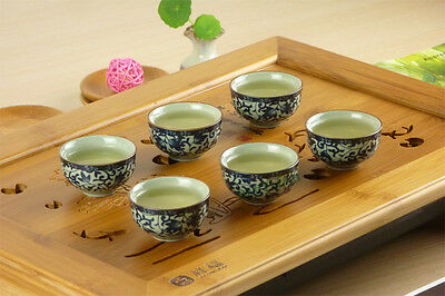 6 Cherry Leaves Porcelain Gongfu Teacups (30ml/teacup) * Free Shipping