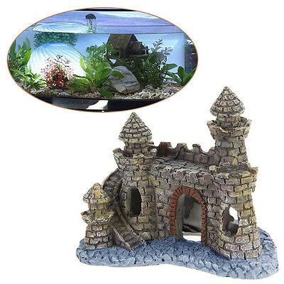 Polyresin Tower Castle Aquarium Ornament Fish Tank Decoration Accessories New