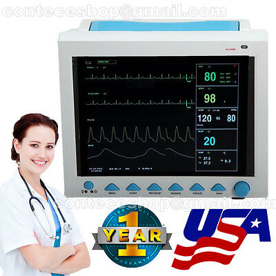 US Seller ICU Vital Sign Patient Monitor 6 Parameters ECG NIBP SPO2 PR RESP TEMP