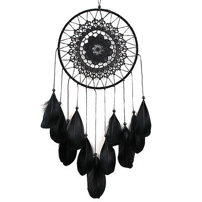 Black Handmade Lace Dream Catcher with Feather Bead Hanging Decor Ornament Gift