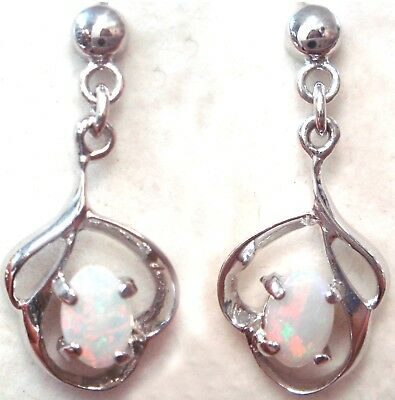 Natural Crystal Opal Earring With 925 Solid Silver Set 9.985cts 24x10x3mm