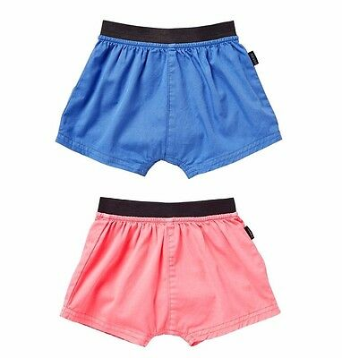 NWT Bonds Baby Girls Boys Pink / Blue Shorts Roomie Short Size 0000-2 RRP $22.95