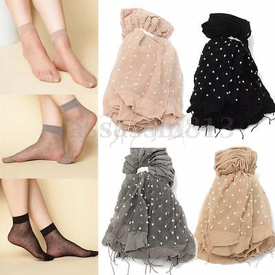 10 Pairs Ultra-thin Elastic Silky Short Stockings Women Ankle Socks Polka Dot