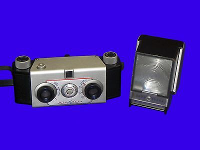 Vintage 1955 Delta Stereo Camera 35mm Film w/ Strap Flash Manual TESTED! WORKS!
