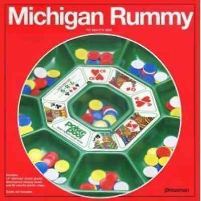 Pressman Toy Michigan Rummy Board Card Game Tray & Chips