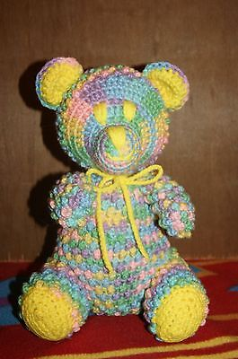 Hand Made Crochet Teddy Bear Easter Colors With Yellow Trim