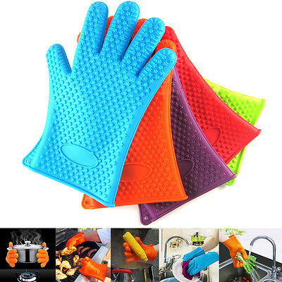 1 Pair Heat Resistant Silicon BBQ Mitts Pot Holder Kitchen Baking Oven Gloves