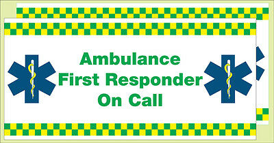 Ambulance First Responder on Call. (Vehicle Stickers) x 2.  Size 410mmx200mm