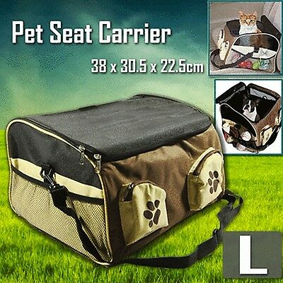 Pet Carrier Dog Cat Car Booster Seat Soft Crate Portable Cage Travel Bag Brown L