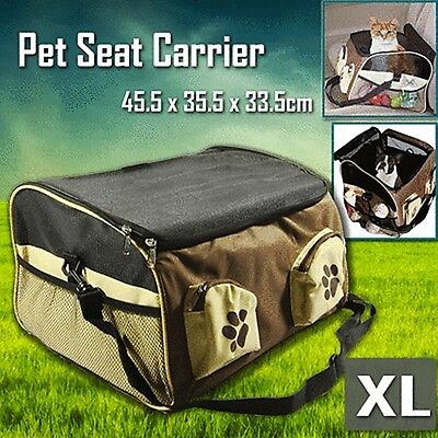 Pet Carrier Dog Cat Car Booster Seat Soft Crate Portable Cage Travel Bag XL Brow