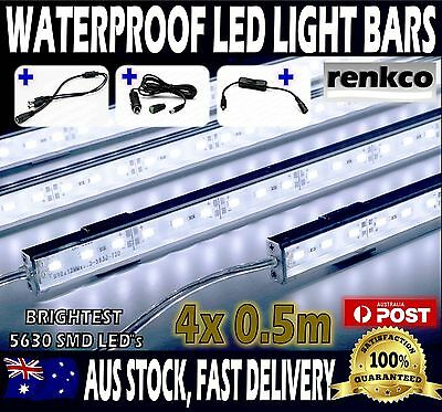 4X12V Waterproof Cool White 5630 Led Strip Lights Bars Camping Caravan Boat Cig