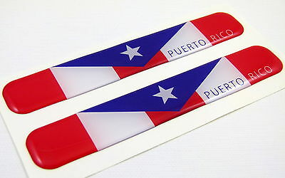 """Puerto Rico Flag Domed Decal Emblem Resin car stickers 5""""x 0.82"""" 2pc."""