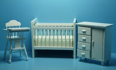 Dollhouse Miniature Nursery Set ~ Crib, Dresser and High Chair (White) 00308