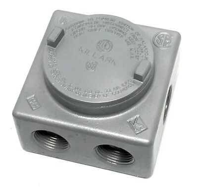 "Killark GRSS-3 Explosion Proof Junction Box with (7x) 1"" Hubs"