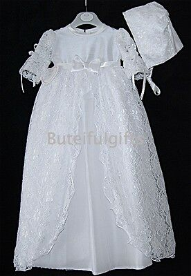 Baby Girls White or Ivory Tuille & Lace Christening Gown & Bonnet  0-6 6-12 Mth