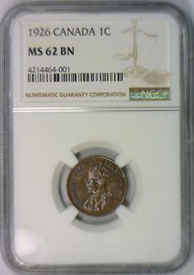 1926 Canada One Cent NGC MS-62 BN