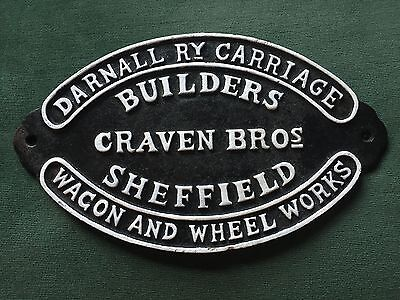 Railway Sign Cast Iron Plaque Craven Brothers Train Carriage Builders Repro