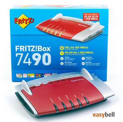 AVM Fritz!Box 7490 WLAN AC Router, VDSL Vectoring, deutsche Version, wie neu