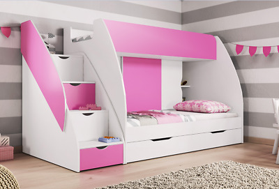 Brand New Bunk Beds With Drawers And Storage, Pink, Option With 2 New Mattresses