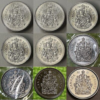 1991 1996 1997 1998 1999 2000 2001 Canada 50 Cents #Choose 1 #