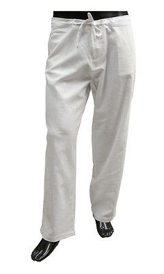 Mens Casual White Linen-Cotton Draw String Pants