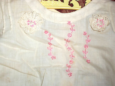VINTAGE 1940's GIRL'S SLIP GOWN, WHITE, EMBROIDERED,  NEWBORN/6 MONTHS BABY