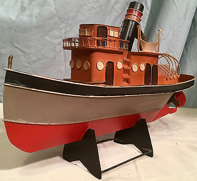 "Unique VTG Handmade Scrap Tin Tug Boat - 12"" x 7.5"" x 3.5"""