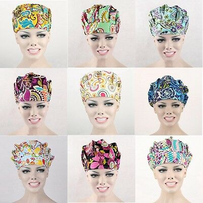 9 Kinds Pattern Flower Printing Scrub Cap Bouffant Medical Surgical Surgery Hat