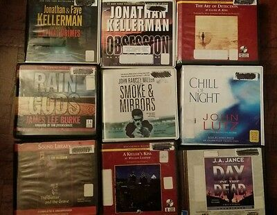 Huge Lot 9 Audiobooks CD Detective Mystery Crime Fiction Unabridged Audio Books