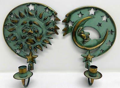 PartyLite 1994 Sun Moon Stars Verdigris Brass Wall Sconce Set 2 Candle Holders