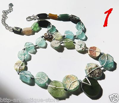 Real Silver 925 Necklace Ancient Aqua Green Round Roman Glass Beads 100 BC
