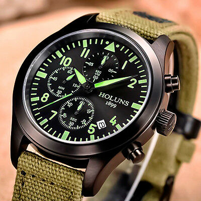 HOLUNS Mens Chronograph Waterproof Army Quartz Wrist Watch Luminous Canvas Band