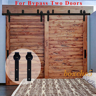 5FT-16FT Black Bypass Country Sliding Barn Double Wood Door Hardware Closet Kit