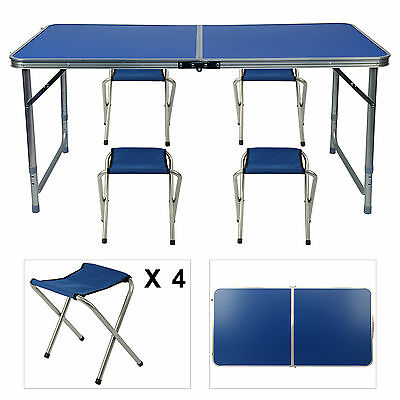 Aluminium Folding Portable Camping Picnic Party Dining Table With 4 Chairs
