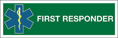 FIRST RESPONDER WINDOW STICKER FOR A CAR. X 1 (200x65mm)