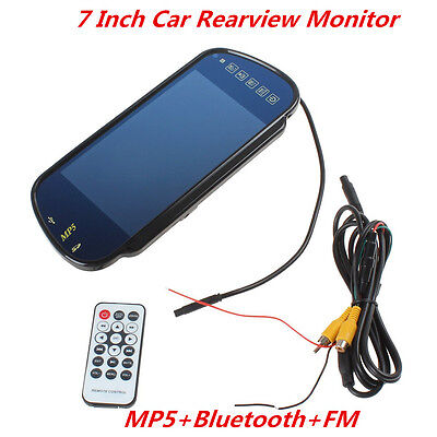 """7"""" TFT LCD HD Car Rearview Mirror Monitor with Wireless Bluetooth SD USB MP5 FM"""