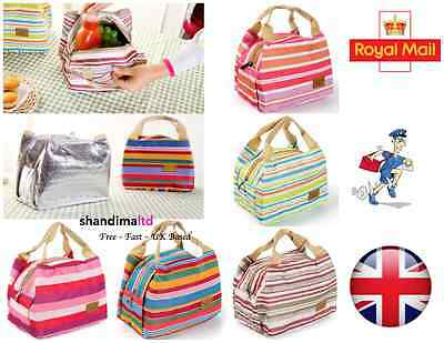Thermal Portable Insulated Cold Canvas Stripe Picnic Tote Carry Case Lunch Bag