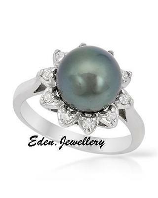 US$3960 Gorgeous TAHITIAN Pearl 0.26ctw GENUINE Diamond 14K White Gold 80% OFF