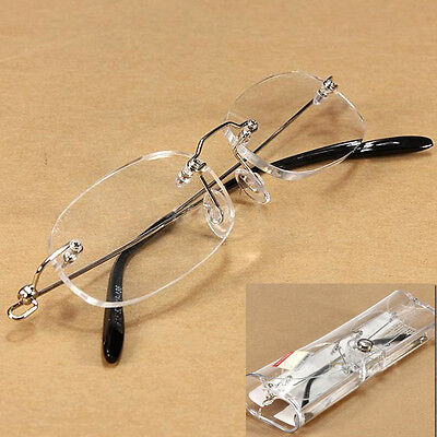 New Unisex Clear Rimless Reading Glasses Eyeware Spectacles with Case Eyeglasses