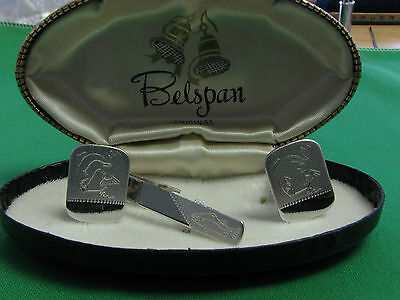 New VINTAGE BELSPAN  CUFFLINKS TIE BAR WITH FISH ENGRAVED DESIGN