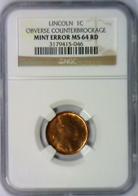 Lincoln Cent Obverse Counter Brockage Mint Error NGC MS-64 RD