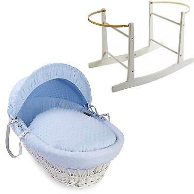 New Blue Dimple White Wicker Deluxe Padded Moses Basket And White Rocking Stand