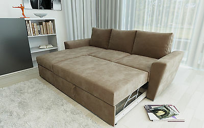 Ravena Stanford TAUPE Fabric 2 Seat or L Shape Pull Out Sofa Bed Living Room